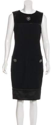 Chanel Satin-Paneled Wool Dress