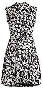 Derek Lam Women's Mockneck Floral Silk Dress