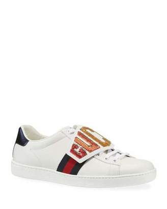 Gucci New Ace Rainbow Patch Leather Sneaker