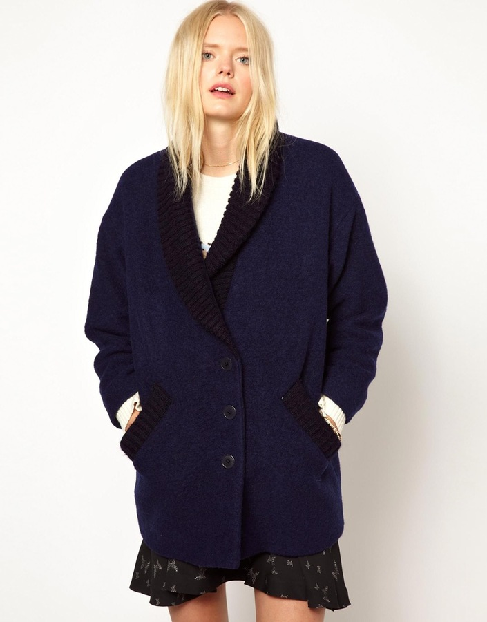 Band Of Outsiders Wool Coat with Knitted Collar - Navy