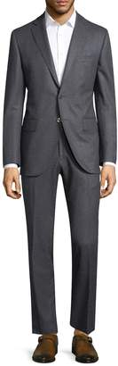 Lubiam Men's Solid Notch Wool Suit