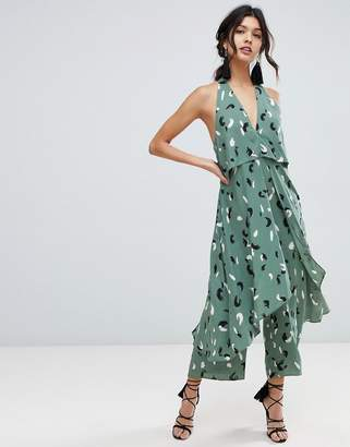 Asos DESIGN jumpsuit with multi layers in linen look and brushstroke print