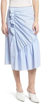 Trouve Mixed Stripe Poplin A-Line Skirt
