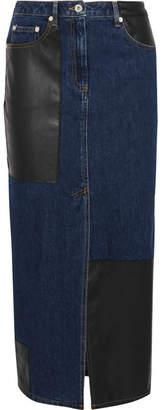McQ Faux Leather-paneled Denim Midi Skirt - Mid denim
