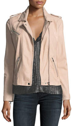 Rebecca Taylor Zip-Front Leather Moto Jacket