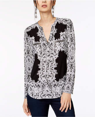 INC International Concepts I.n.c. Petite Printed Zip-Pocket Top, Created for Macy's