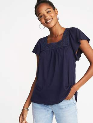 Old Navy Square-Neck Crochet-Trim Top for Women