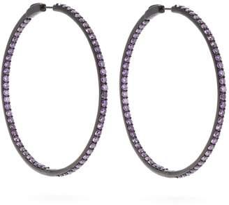 LYNN BAN Rhodium and amethyst-pavé hoop earrings