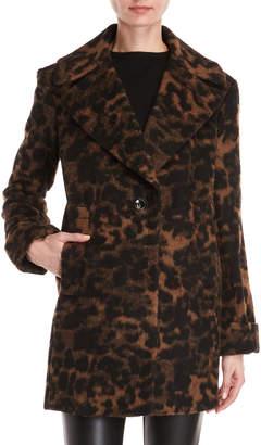 Kensie Leopard Print Textured Coat