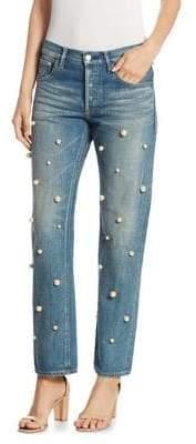 Tu es mon TRESOR Big Pearl Cotton Jeans