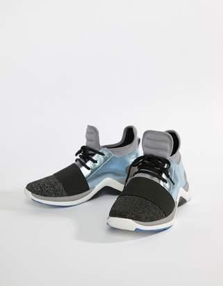 Kurt Geiger London Linford pale blue mix with metallic sneakers