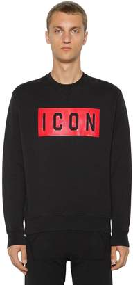 DSQUARED2 Icon Print Cotton Jersey Sweatshirt