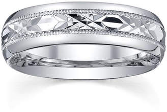 MODERN BRIDE Mens Sterling Silver Wedding Band