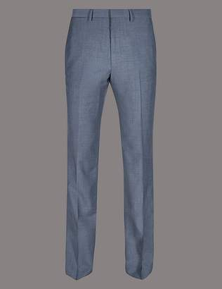 Marks and Spencer Blue Tailored Fit Wool Trousers