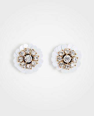 Ann Taylor Sequin Crystal Floral Stud Earrings