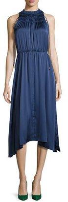 Derek Lam 10 Crosby Sleeveless Shirred Satin Midi Dress, Gray Blue $550 thestylecure.com