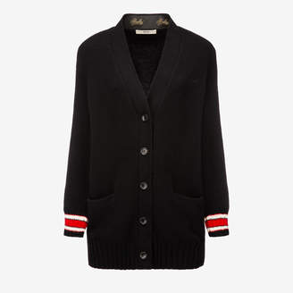 Bally Wool-Cashmere Long Cardigan Black, Women's wool and cashmere blend cardigan in black