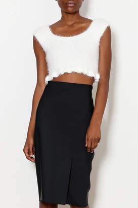 Ecru Slit Front Skirt