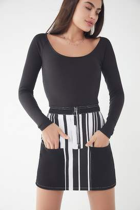 BDG Ruby Striped Zip-Front Skirt
