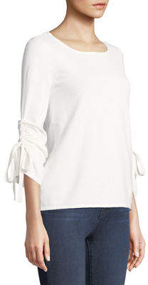 Neiman Marcus Tunneled-Bow Sleeve Sweater