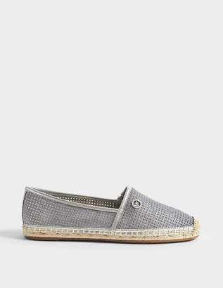 MICHAEL Michael Kors Kendrick Slip Ons in Silver Pixie Fine Perf Square and Mirror Metallic
