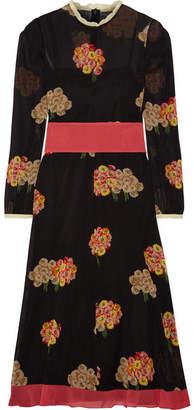 RED Valentino Floral-print Stretch-silk Georgette Midi Dress - Black