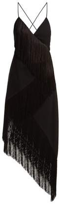 Fringed Asymmetric Hem Wool Crepe Dress - Womens - Black
