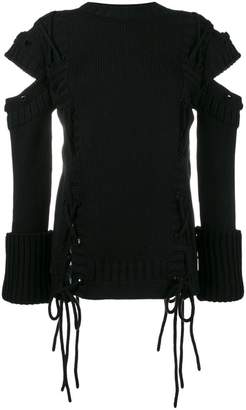 Alexander McQueen Cold Shoulder Jumper with Side Ties
