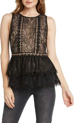 Willow & Clay Lace & Grommets Peplum Top