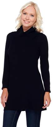 Susan Graver Rayon Nylon Long Sleeve Cowl Neck Tunic Sweater
