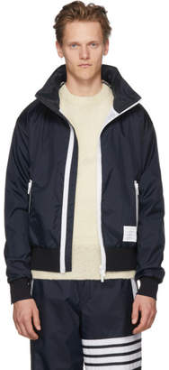 Thom Browne Navy Lightweight Hidden Hoodie Zip Jacket