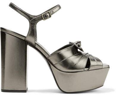 Saint Laurent - Farrah Bow-embellished Metallic Leather Platform Sandals - Gunmetal
