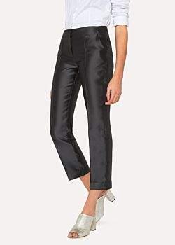 Paul Smith Women's Black Silk-Blend Trousers