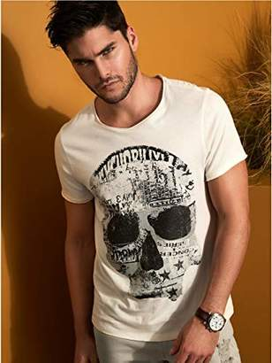 GUESS Men's Short Sleeve Punk Skull Crew Neck Tee
