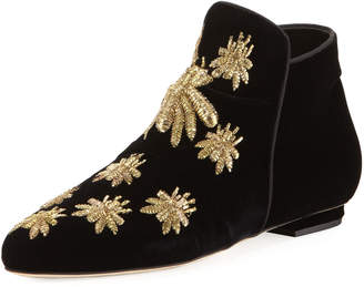 Sanayi313 Metallic Embroidered Velvet Boot