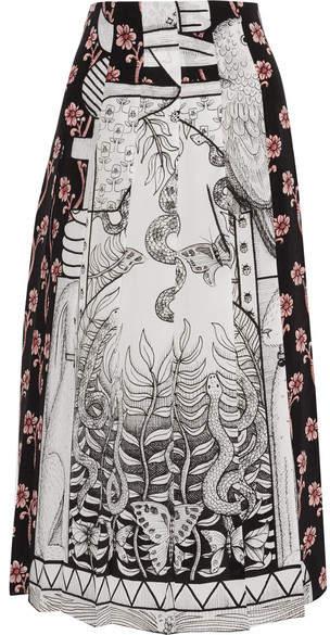 Gucci - Pleated Printed Silk Crepe De Chine Midi Skirt - Gray
