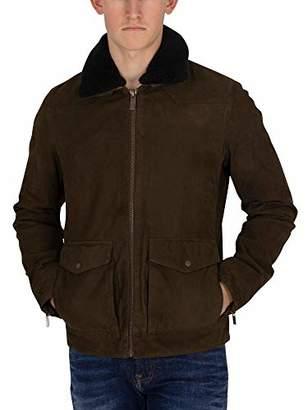 Scotch & Soda Men's Classic Nubuck Jacket with Detachable Teddy Collar