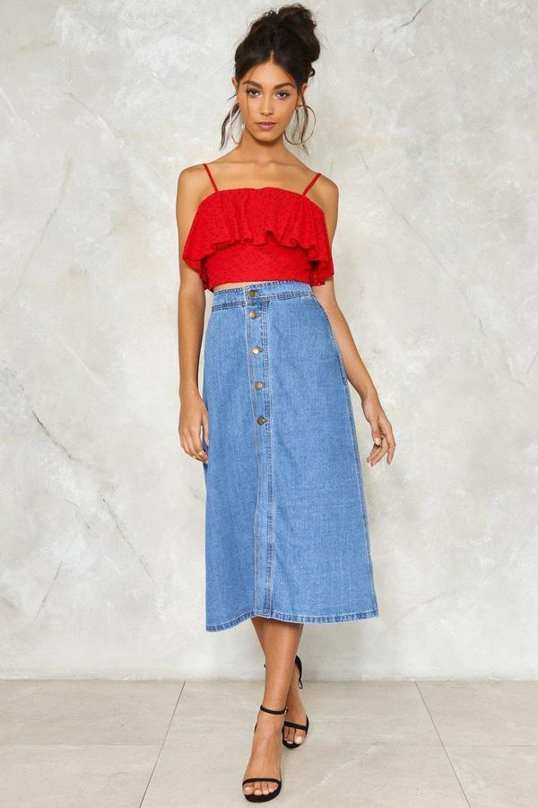 nastygal Center of Everything Denim Skirt