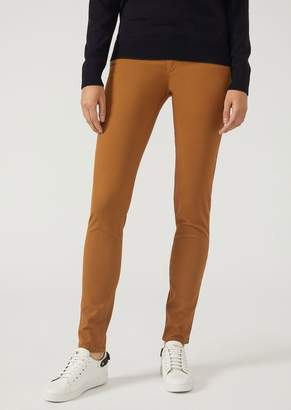 Emporio Armani J28 Super Skinny Five-Pocket Trousers In Gabardine