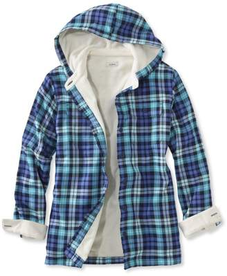 L.L. Bean L.L.Bean Fleece-Lined Flannel Plaid Hoodie