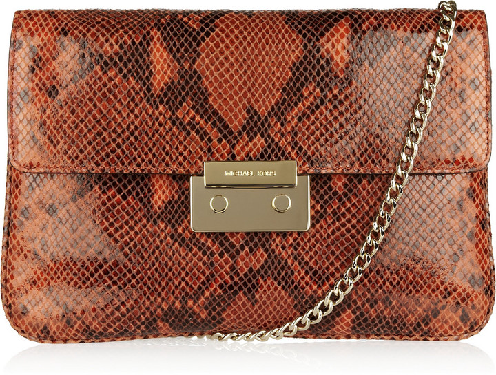 MICHAEL Michael Kors Sloan python-effect glossed-leather clutch