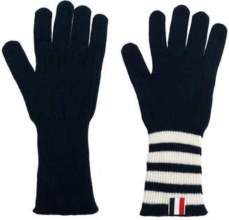 Thom Browne striped rib cuff gloves