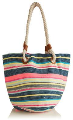 be1abf9ea7a207 George Metallic Candy Stripe Beach Tote Bag