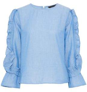 Walter W118 By Baker Eugene Ruffle-Trimmed Cotton-Chambray Top