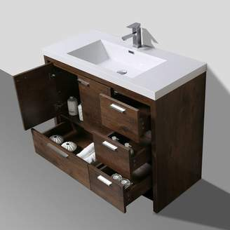 "Langley Street Almendarez Free Standing Modern 41"" Rectangular Single Bathroom Vanity Set"
