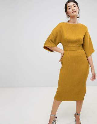 Closet London ribbed pencil dress with tie belt in mustard