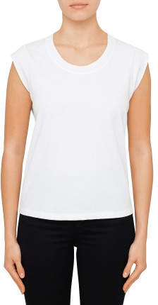 T By Alexander Wang HIGH TWIST JERSEY MUSCLE TEE WITH DISTRESSED RIB