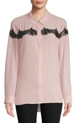 Vince Camuto Lace-Trimmed Button-Down Shirt