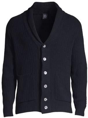 Eleventy Ribbed Shawl Collar Cardigan