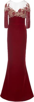 Marchesa Embroidered Velvet Column Gown